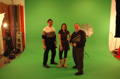 Director Mike Haller with Talent Rebecca Hirschfeld and Producer Bob Anders