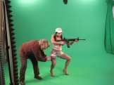 wardrobe artist and talent on green screen studio set