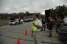 location manager and street film crew